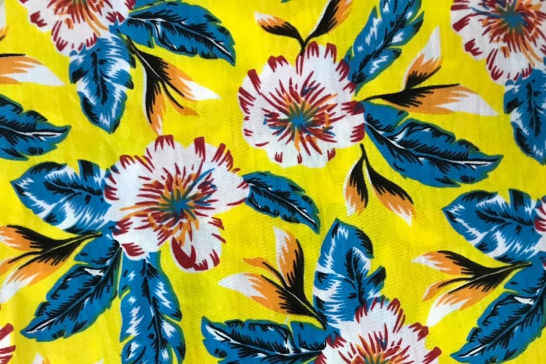 ตัวอย่างงานพิมพ์และลายผ้า-ผ้าลายดอกไม้-ใบไม้
